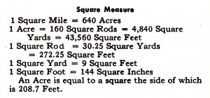 square measure acres
